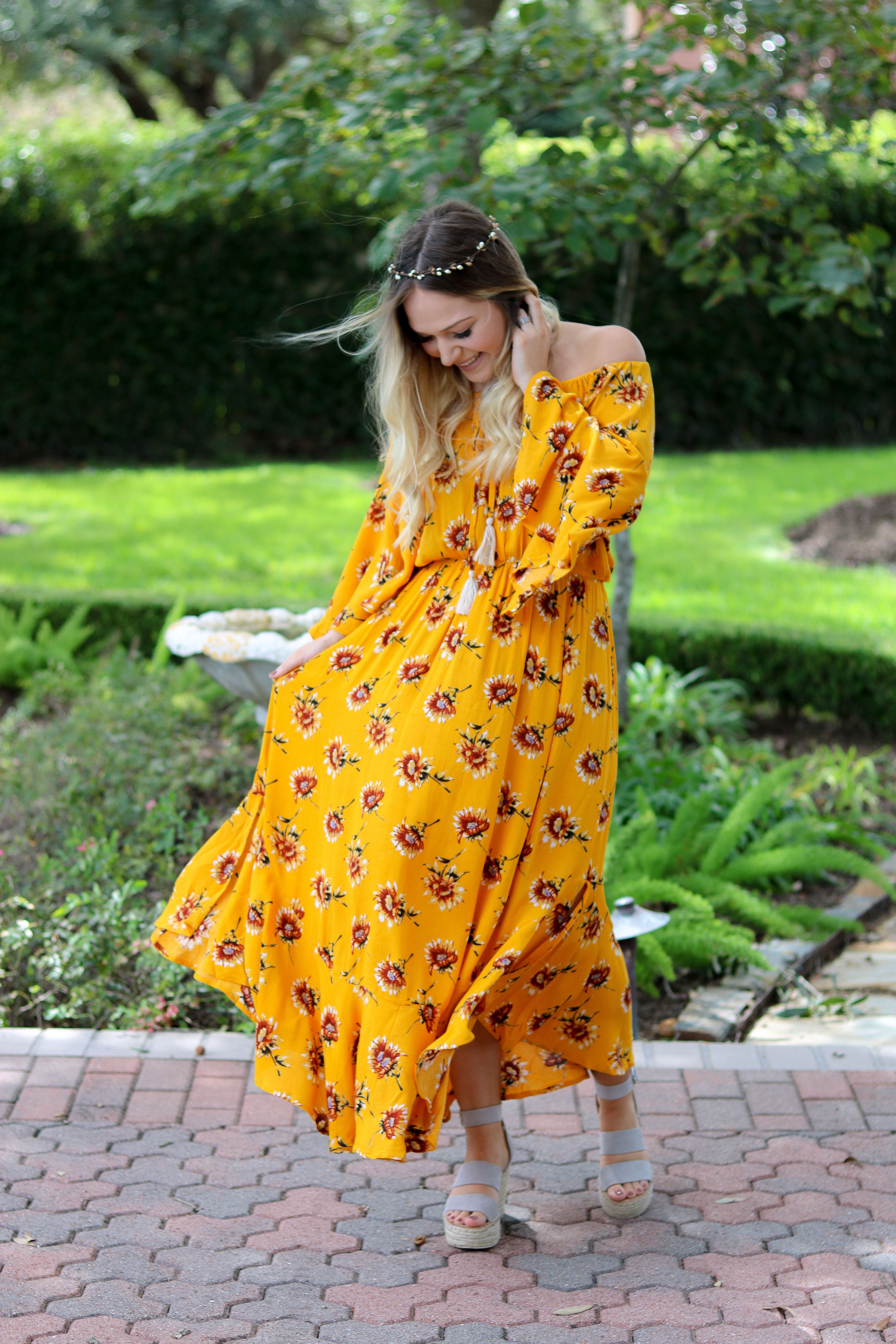 Sassafrasbg Fall Outfit Sunflower Maxi Dress Flower Crown Outfit