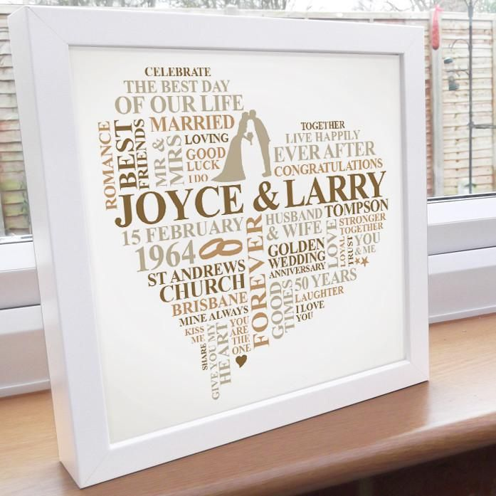Personalised 50th Wedding Anniversary Gifts: Personalised 50th Anniversary Frame