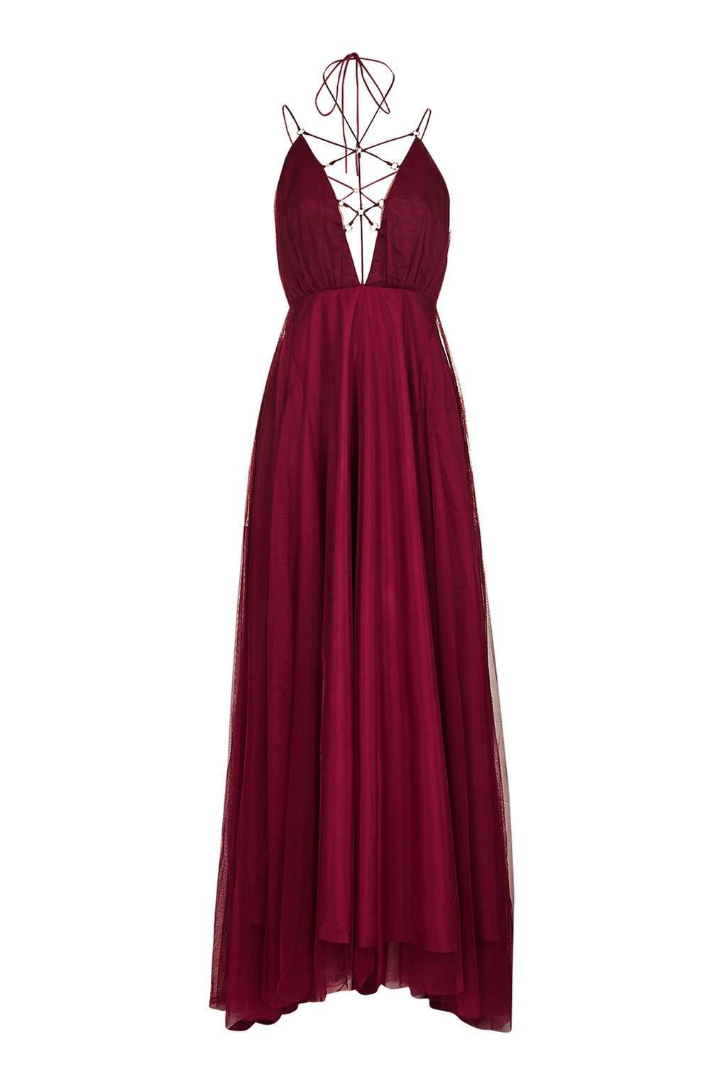 Tulle lace up maxi dress maxi dresses topshop and prom top shop maroon burgundy dress ombrellifo Image collections
