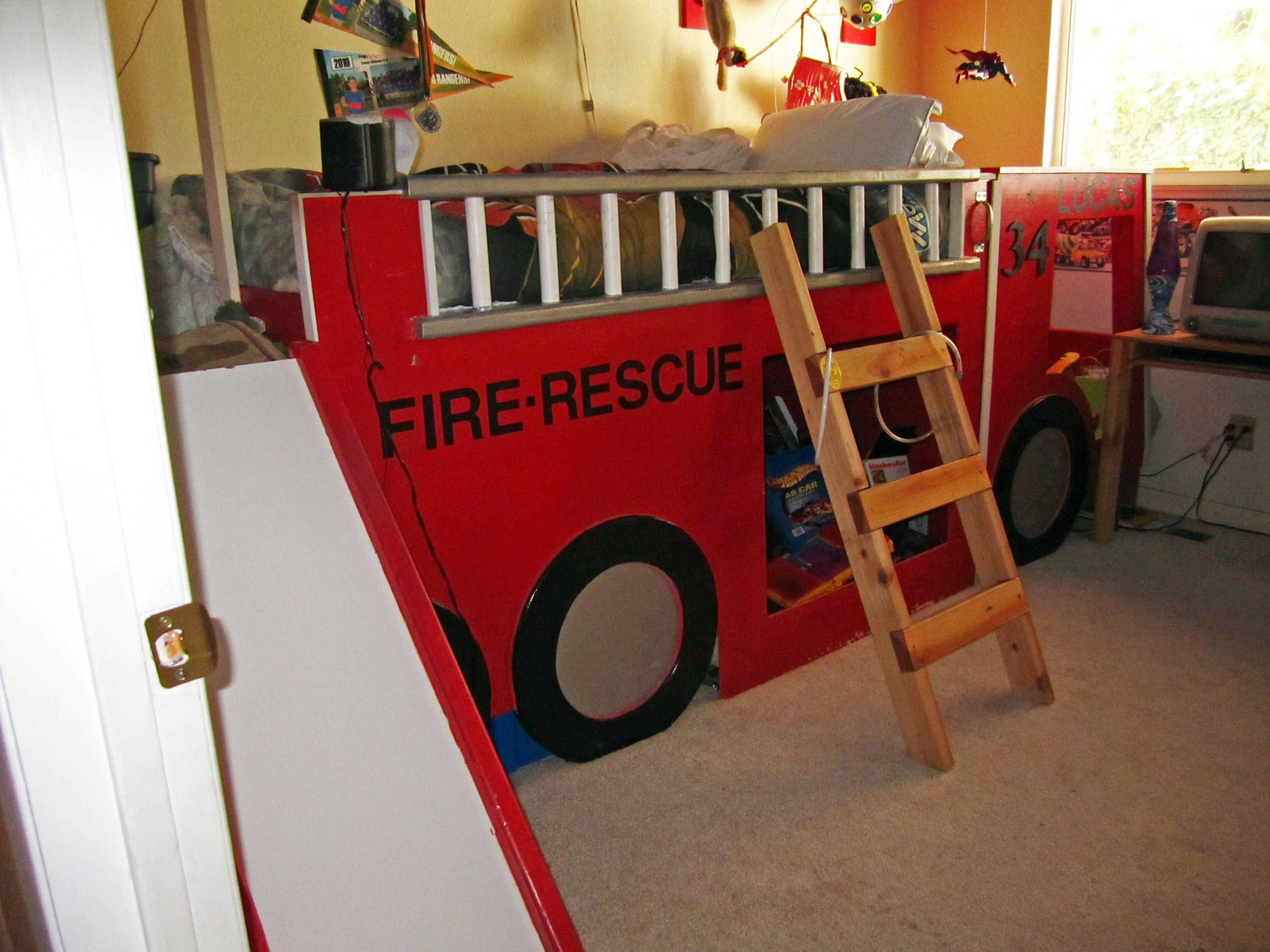 Fire Truck Bed. Boys bed Fireman room, Firefighter room