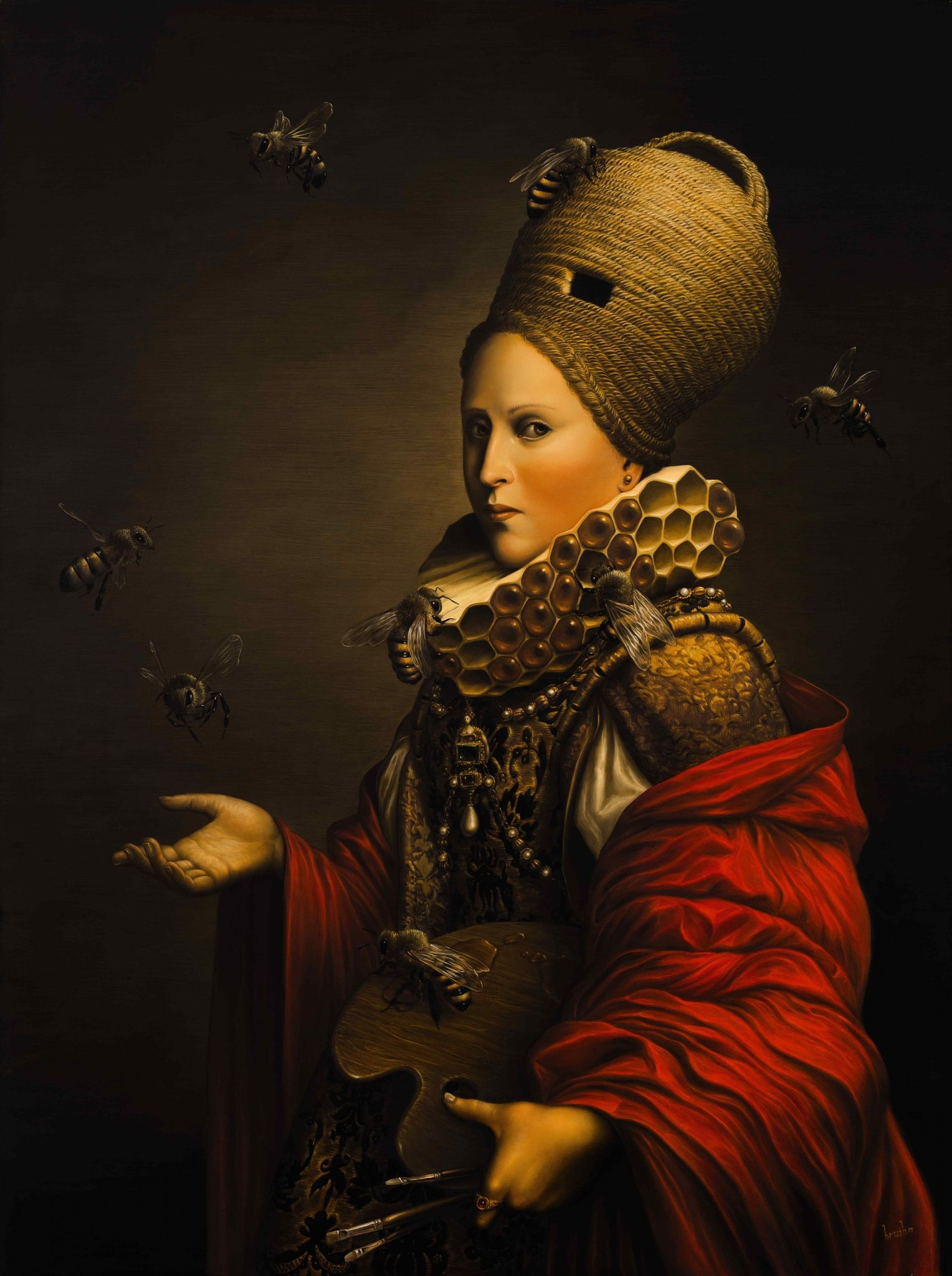 Brian Uhing B The Beekeeper Oil On Canvas