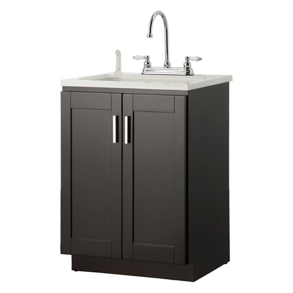 Foremost Palmero 24 In Laundry Vanity In Espresso And Abs Sink In