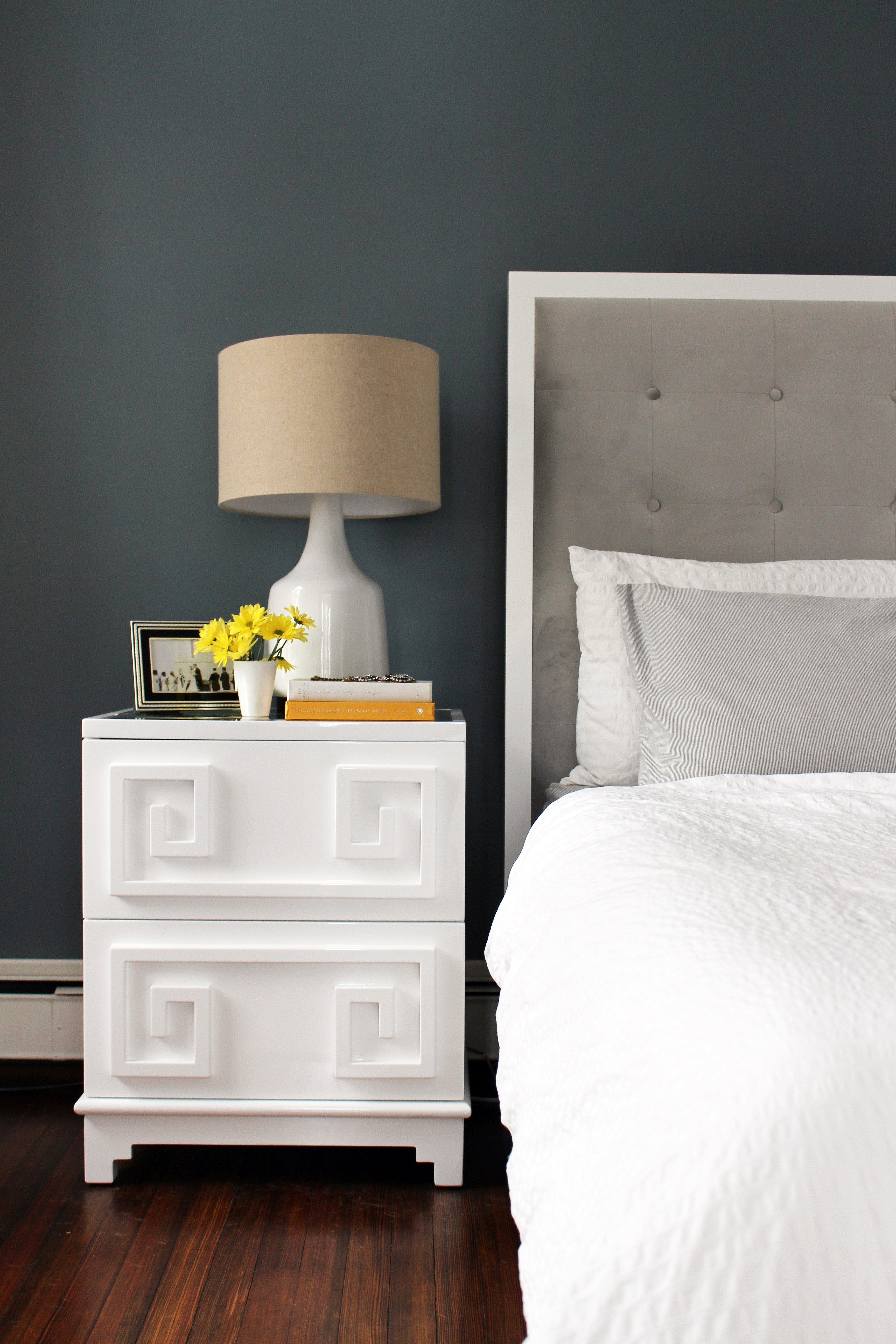 custom upholstered velvet headboard with white lacquer bedside