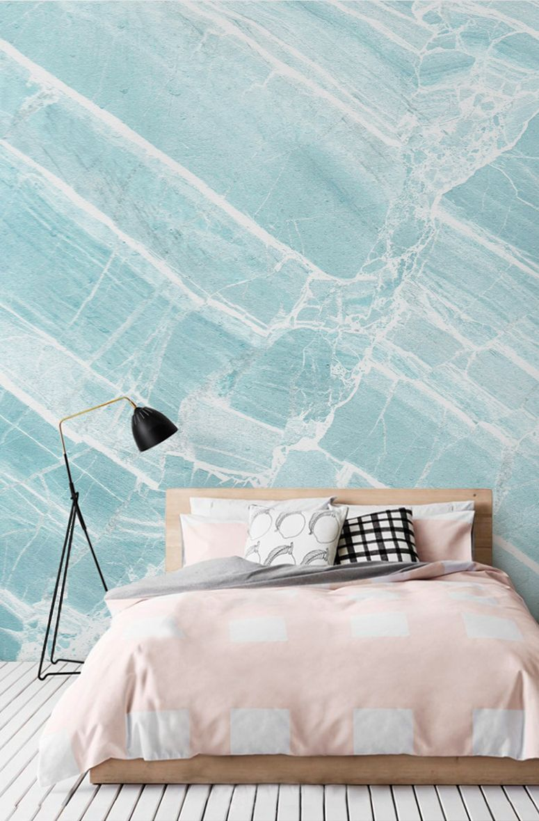 Teal Scraped Marble Wallpaper Blue Marble Wallpaper