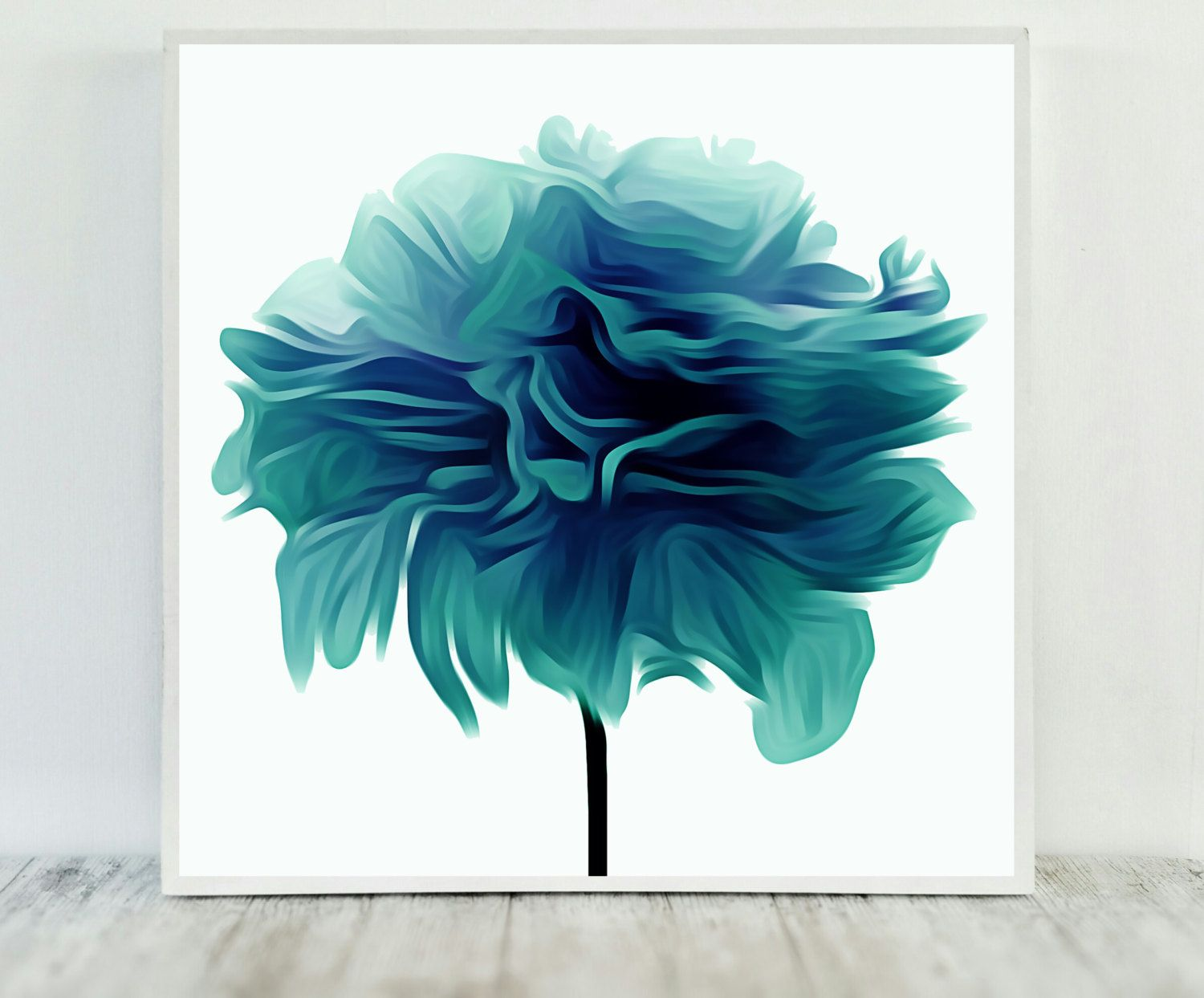 Teal flower print abstract teal print flower print teal printable wall art teal abstract flower teal printable art instant download