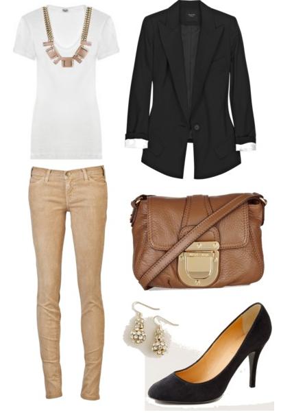 work appropriate outfit | white shirt + black blazer + light brown pants + bag + black high heels