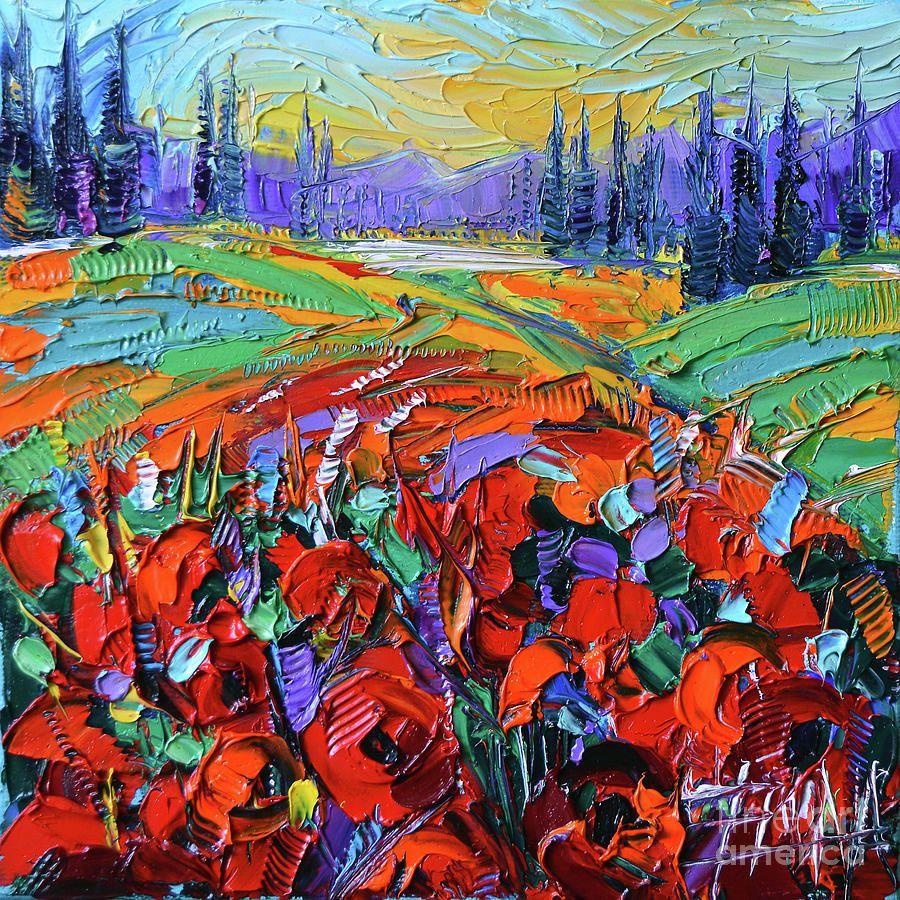 Poppy Field Impression Modern Impressionist Impasto