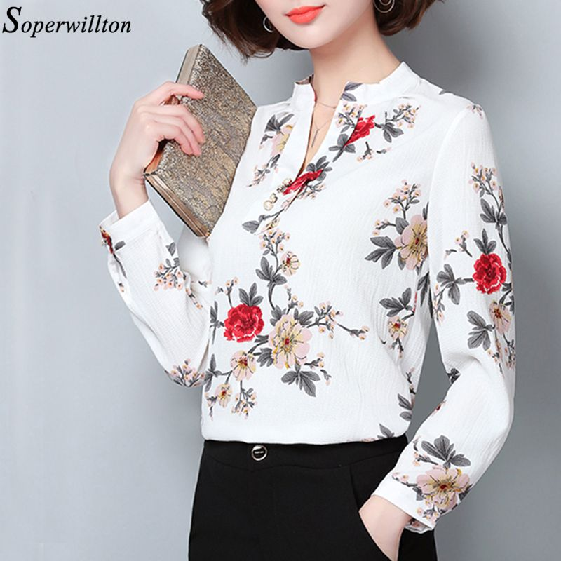402f561f257 Shirt Women Long Sleeve 2018 Spring Flower Print Chiffon Blouse Office Women  Blouse Top Blusas Femininas Cloting For Women H2-in Blouses & Shirts from  ...
