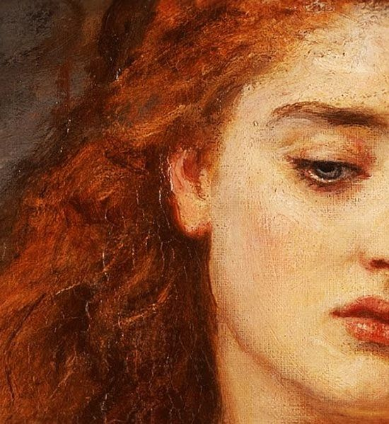 """John Everett Millais: (detail) The Martyr of Solway. Oil on canvas.Tiny Particles of Larger Loves (Tumblr blog). """"Adore this painting, its palette, the realistic depiction of mouth, eyes and hair!"""""""