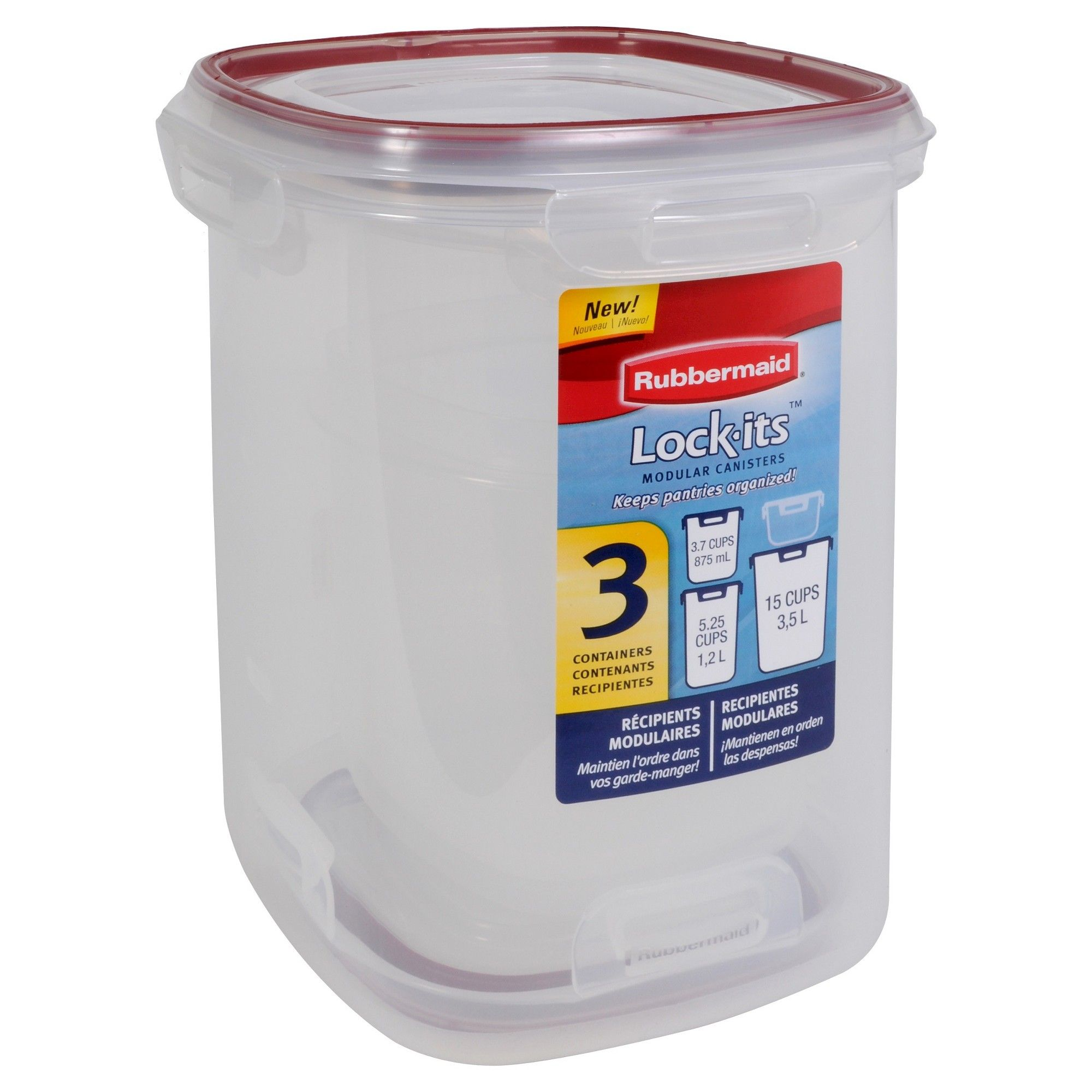 Rubbermaid Lock Its Food Storage Canister Set 3ct Clear Products