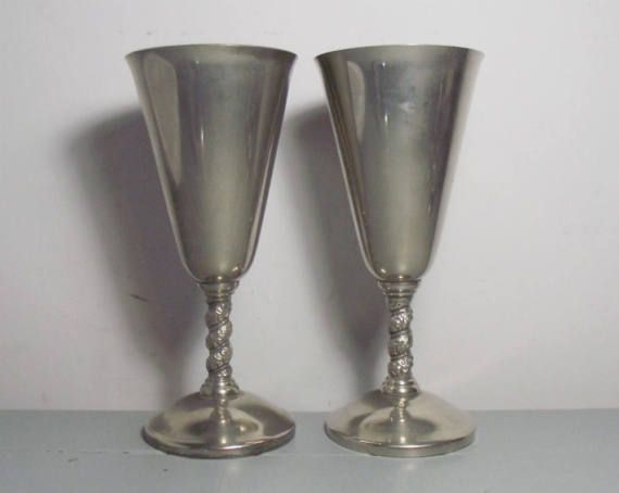 Pair Of Roma Silver Plated Wine Goblets Spanish
