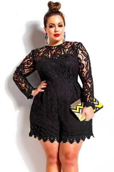 Dear Lover Black Plus Size Long Sleeve Lace Romper Overalls Playsuit
