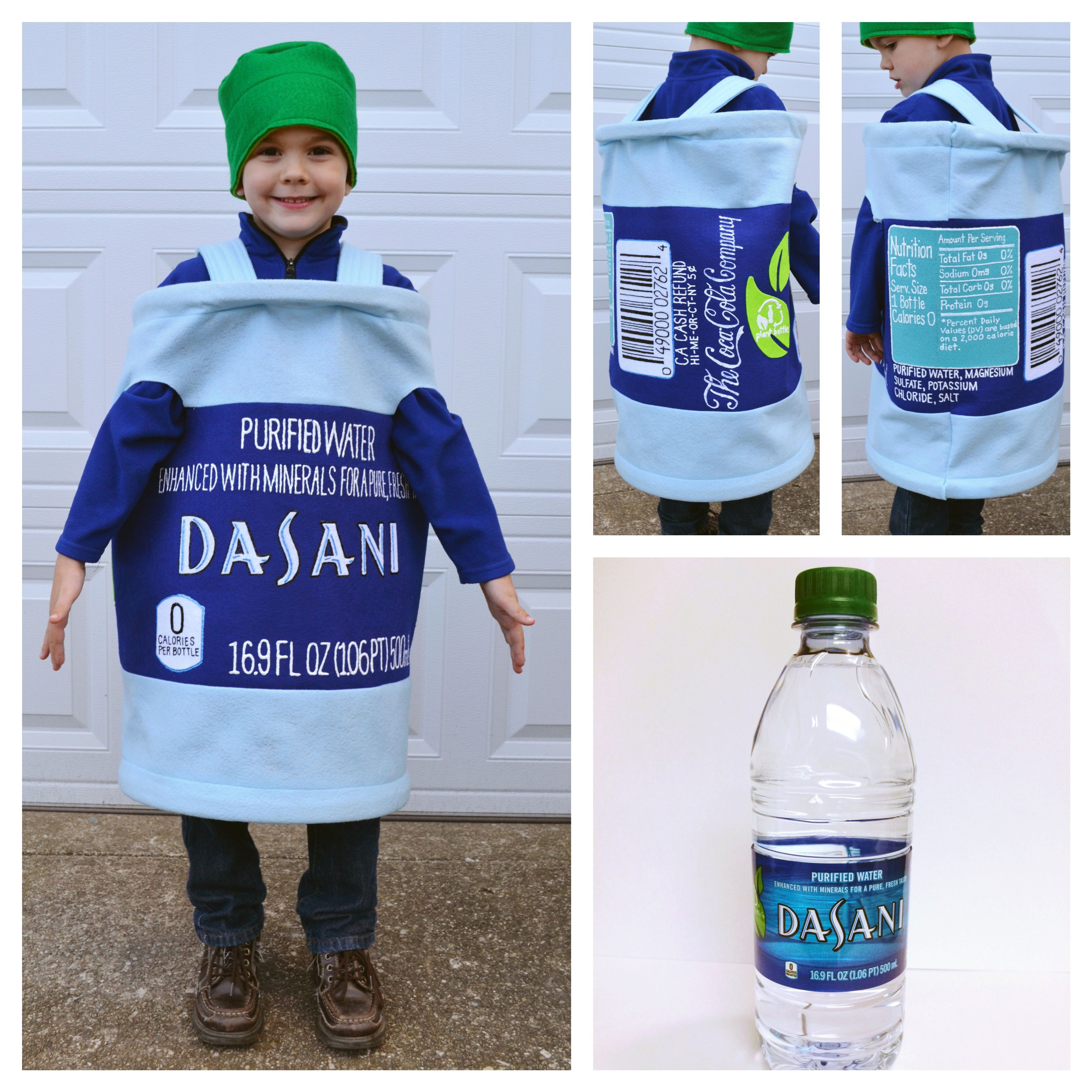 Water bottle costume. Dasani Water. Felt. Pellon. Puff paint.