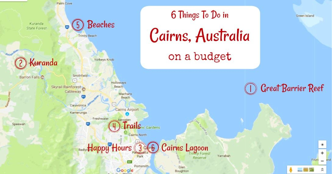6 things to do in cairns australia on a budget cairns tourist map of things to do in cairns australia on a budget by jetsettingfools gumiabroncs Gallery