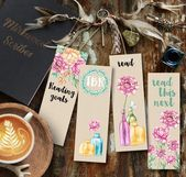 Floral Printable Watercolor Bookmarks Peony Print Reading Goals TBR Bookmark Reading List Printa  Products