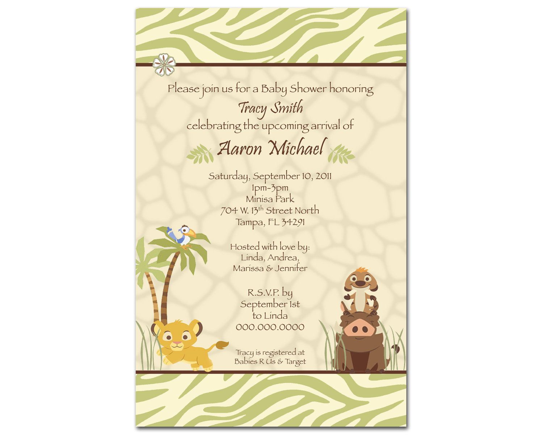 30 Printed Lion King Baby Shower Invitation - Reserved for Hazel ...