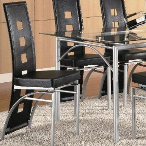 Set of 2 Dining Chairs Black Leather Like Matte Silver Finish Reviews Sales Discount and Cheap Price