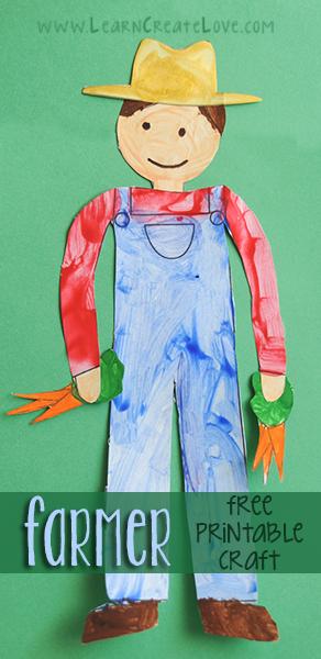 Printable Farmer Craft Learncreatelove Com Kid Blogger