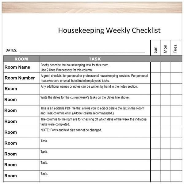 Housekeeping Weekly Checklist - Cleaning Services Editable Room and - employee task list