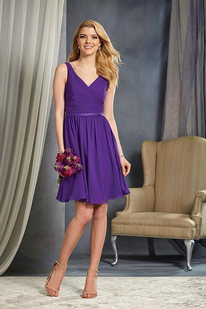 This short, purple bridesmaid dress from Alfred Angelo is cute and ...