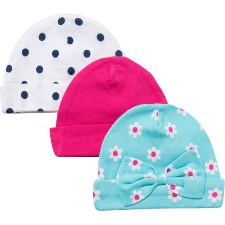 f5c4a4fa7f1 Gerber Newborn Baby Girl Embroidered Flower Caps