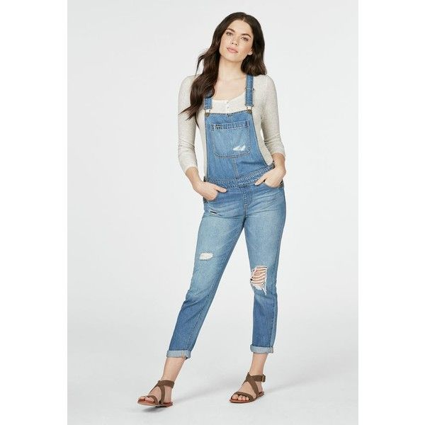 Justfab Boyfriend Slim Overalls ($50) ❤ liked on Polyvore featuring jumpsuits, blue, cotton jumpsuit, overalls jumpsuit, justfab, blue bib overalls and blue overalls