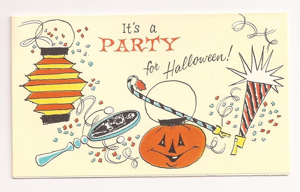 Vintage 1940\'s 50\'s Halloween Party Invitation Card with ...