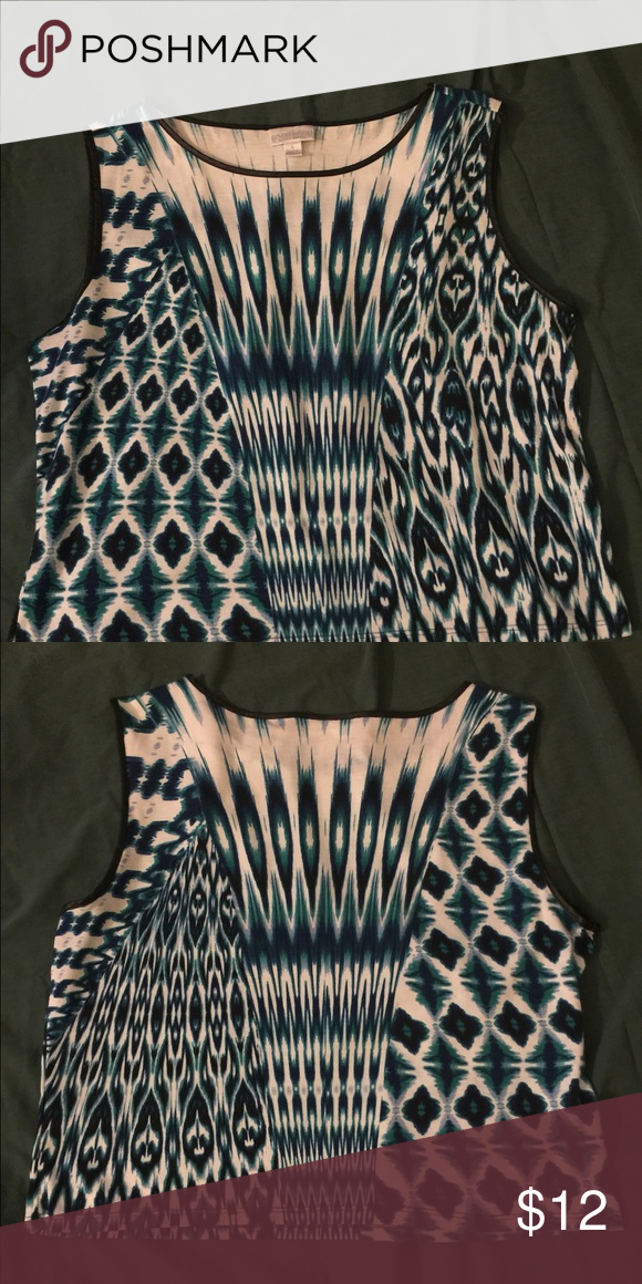 """Bisou Bisou Crop Top Sleeveless scoop neckline. Satin piping along neckline and arms. Top length 19"""". Pattern is blue green white. Comfy crop top Bisou Bisou Tops Crop Tops"""