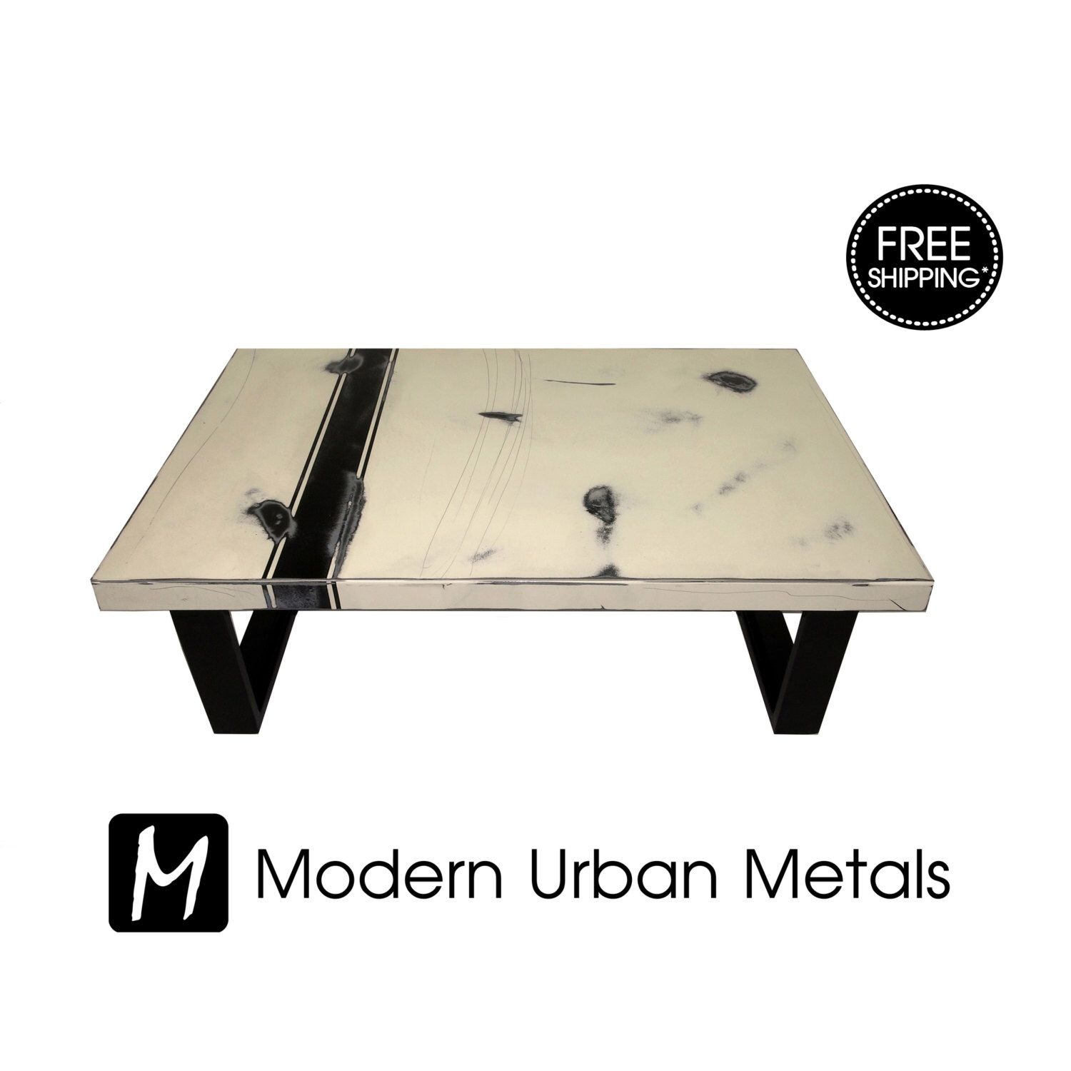 Free Shipping  Modern Coffee Table, Urban Industrial Contemporary Loft