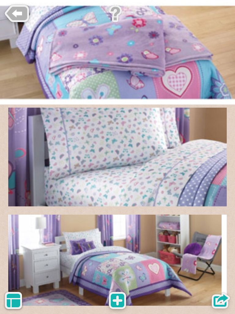 """Natalie's bedding set that's in storage. """"Butterfly Patches"""" from Walmart. Pinning so I can find stuff that matches for her room!"""
