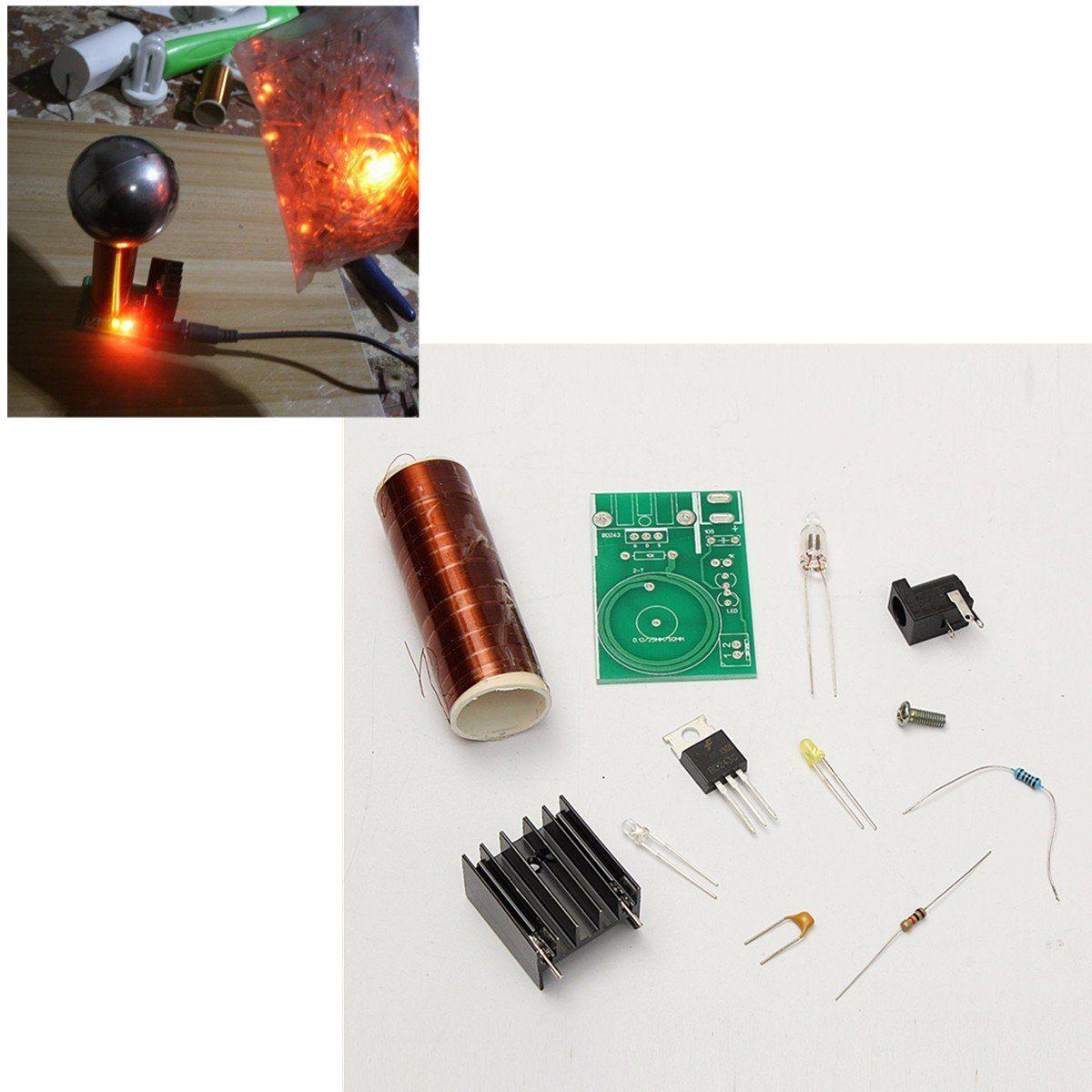 Dc 12v Mini Diy Tesla Coil Kit Arc Wireless Electric Power Transmission Circuit Lighting