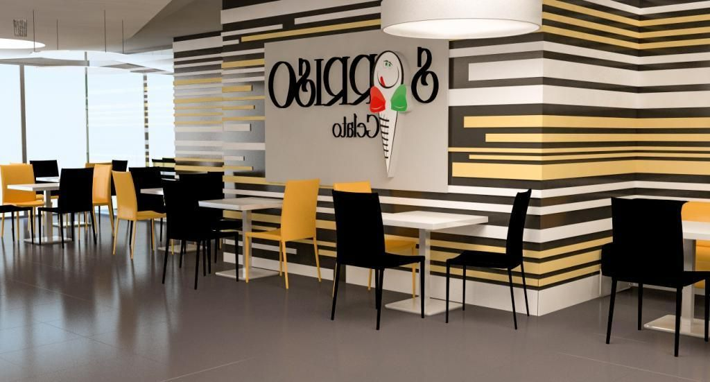 stunning cafe interior design with striped painting wall decor and