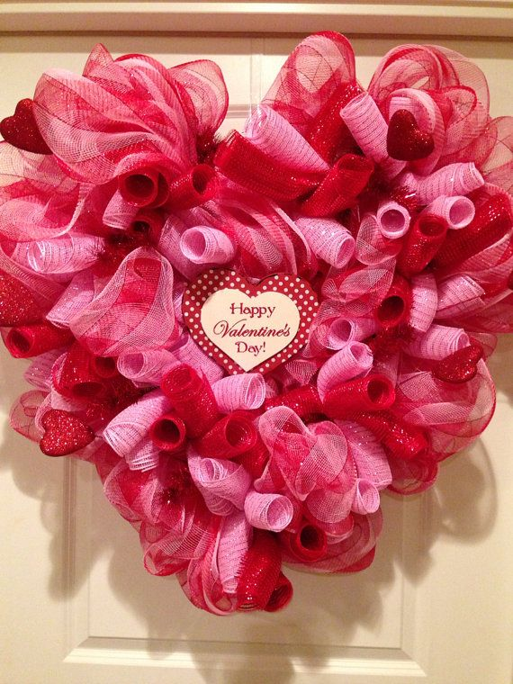 Valentine S Day Deco Mesh Heart Wreath By Hbbcreations On Etsy