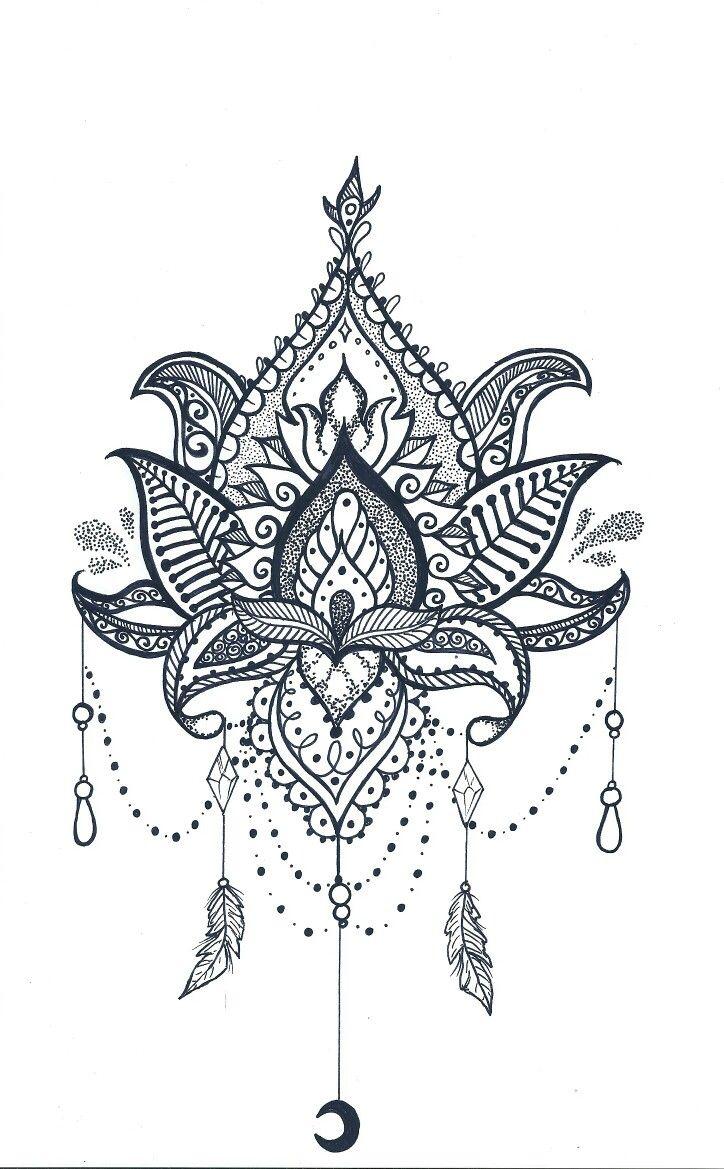 Disegno Stemma Luna Piume Foglie Mandala Tatto Tetov 225 L 225 S