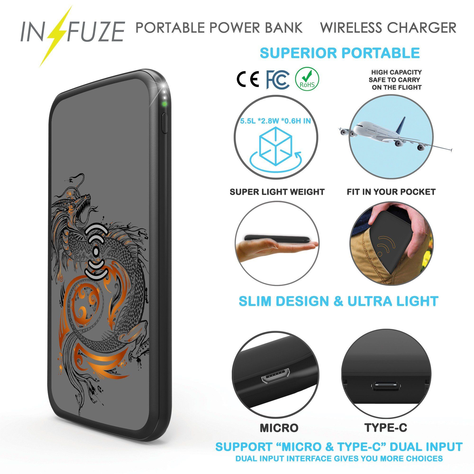 Portable Powerbank Infuze 10000mah Slim Fast Charge Portable Wireless Charger Power Bank For Iphone X Lg Galaxy Not Powerbank Phone Power Bank Wireless Charger