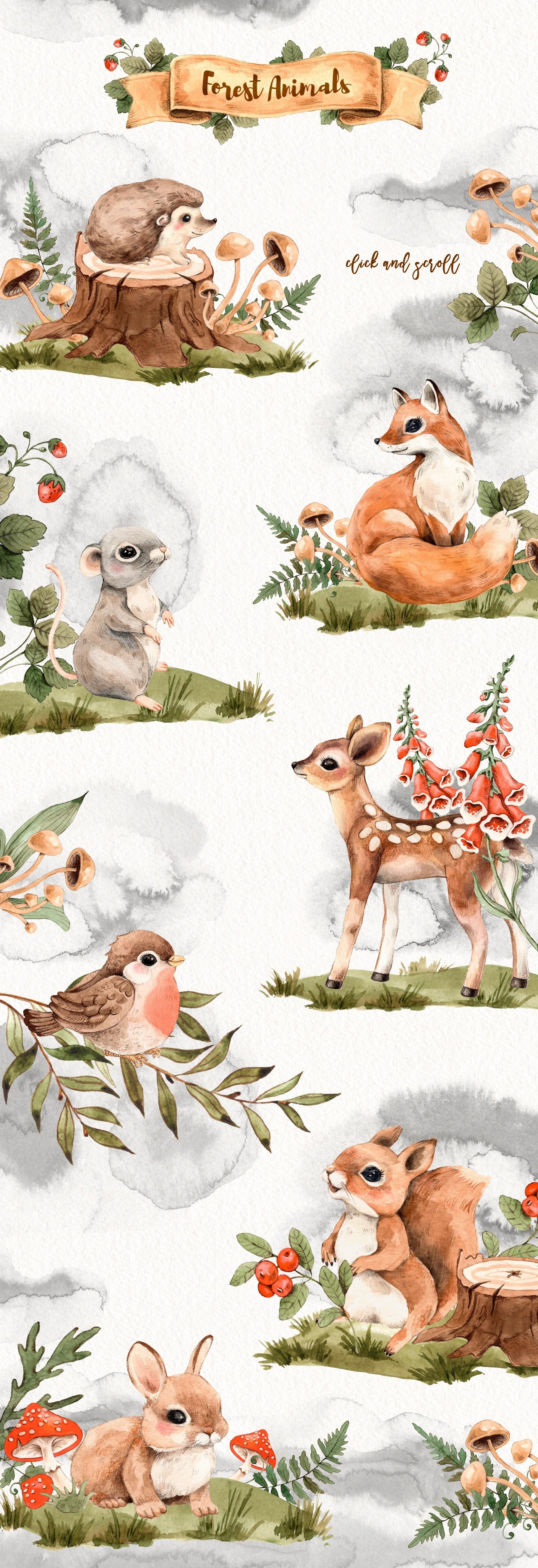 Photo of Watercolor Forest Little Animals set