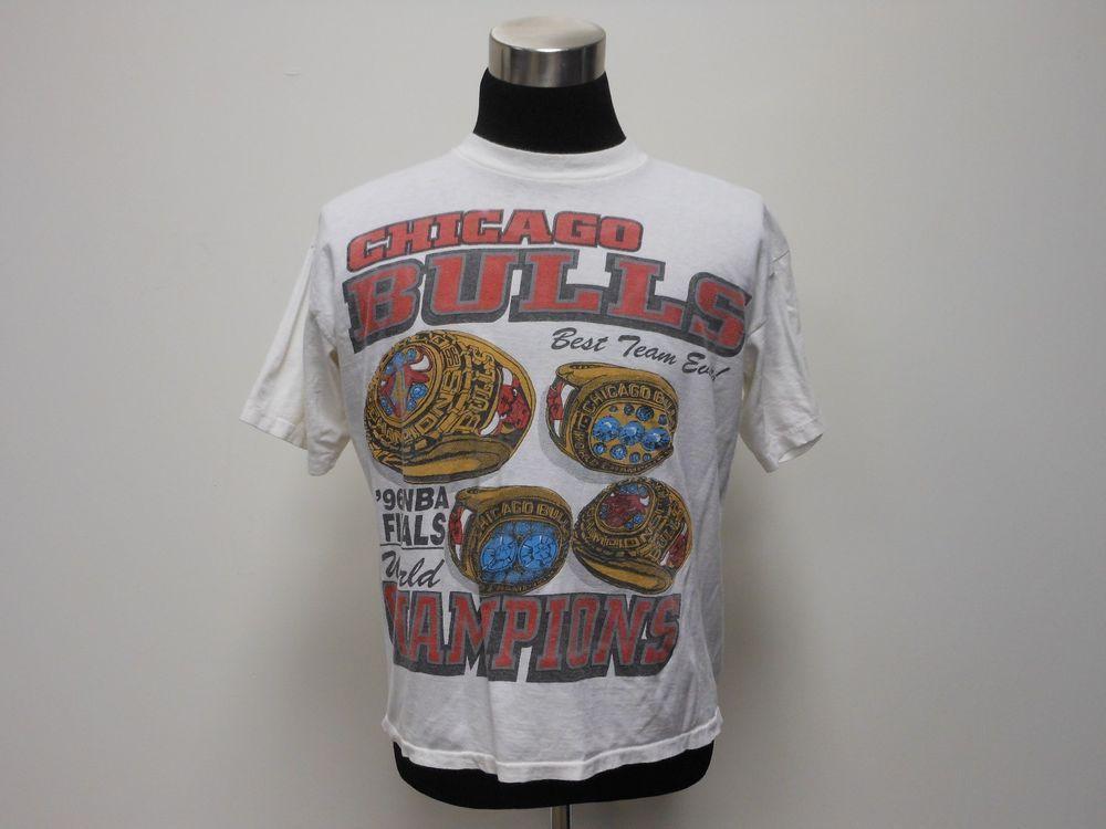 Vtg 90s Chicago Bulls 96 Championship Crewneck T Shirt XL Extra Large NBA Rings #ChicagoBulls #tcpkickz