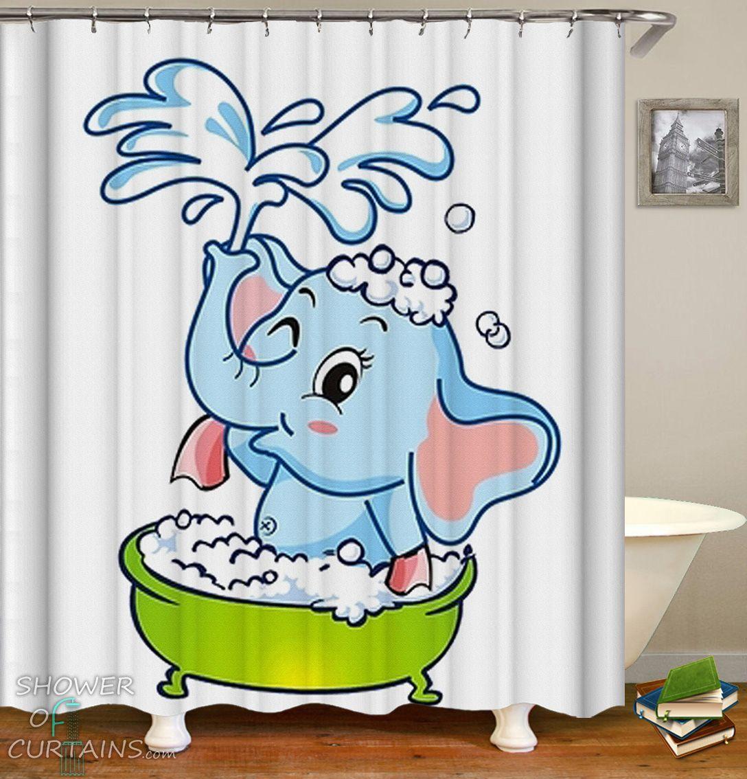 Baby Elephant Cartoon Shower Curtain Hxtc0479 In 2020 Mandala