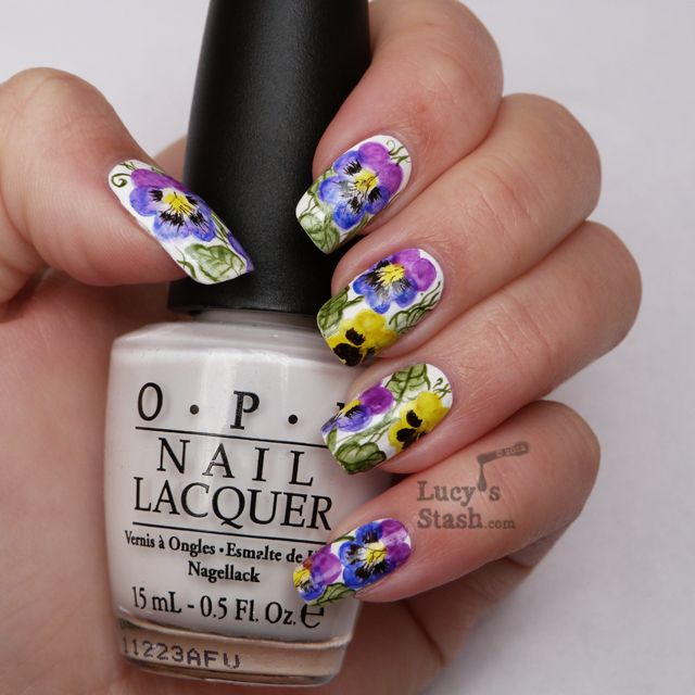 Watercolour Aquarelle Nail Art Pansy Violet Flowers Lucy S Stash Nails Nail Art Manicure Floral Nail Designs