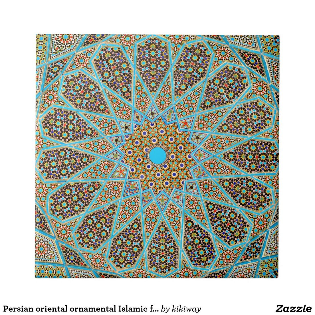Persian oriental ornamental Islamic floral mosaic Tile