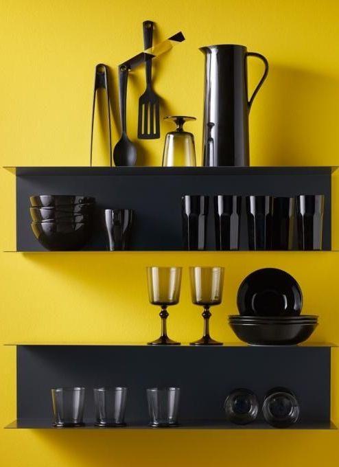 Ikea wandopbergers keuken stalen planken Botkyrka donkergrijs ...