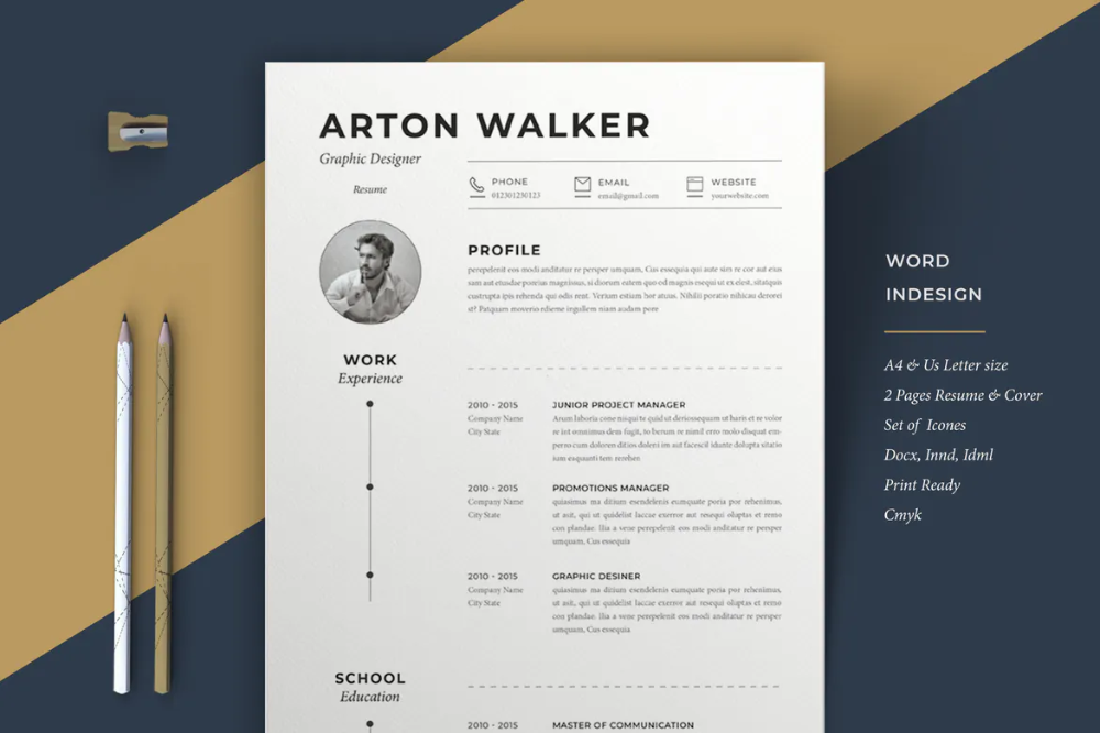 Resume Airton By Sz81 On Envato Elements Graphic Design Resume Resume Design Graphic Design Cv