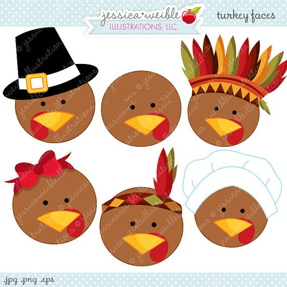 turkey faces cute thanksgiving digital clipart commercial use ok rh pinterest com cute thanksgiving clipart free cute thanksgiving clipart free