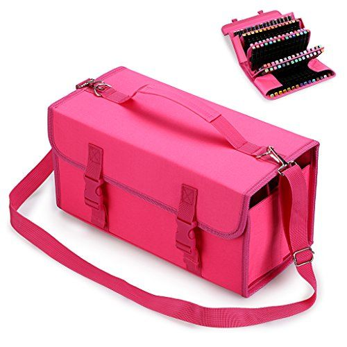 BTSKY New 120 Slots Marker Case Lipstick Organizer--Canvas Markers Holder for for Primascolor Markers and Copic Sketch Markers (Pink)  Great Marker Storage Choice : Keep your markers organized and portable with this handy marker case, leave your plastic box aside and choose this marker pen bag.  High Capacity: Holds 120 pieces markers, the handle of this case is very handy for travel, an adjustable and removable shoulder strap makes it easy to pack over your shoulder, organize your pri...