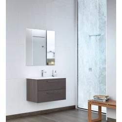 Photo of Bathroom furniture – Set K Salem, 2-part incl. Wash basin / wash basin, color: oak dark gray Easy