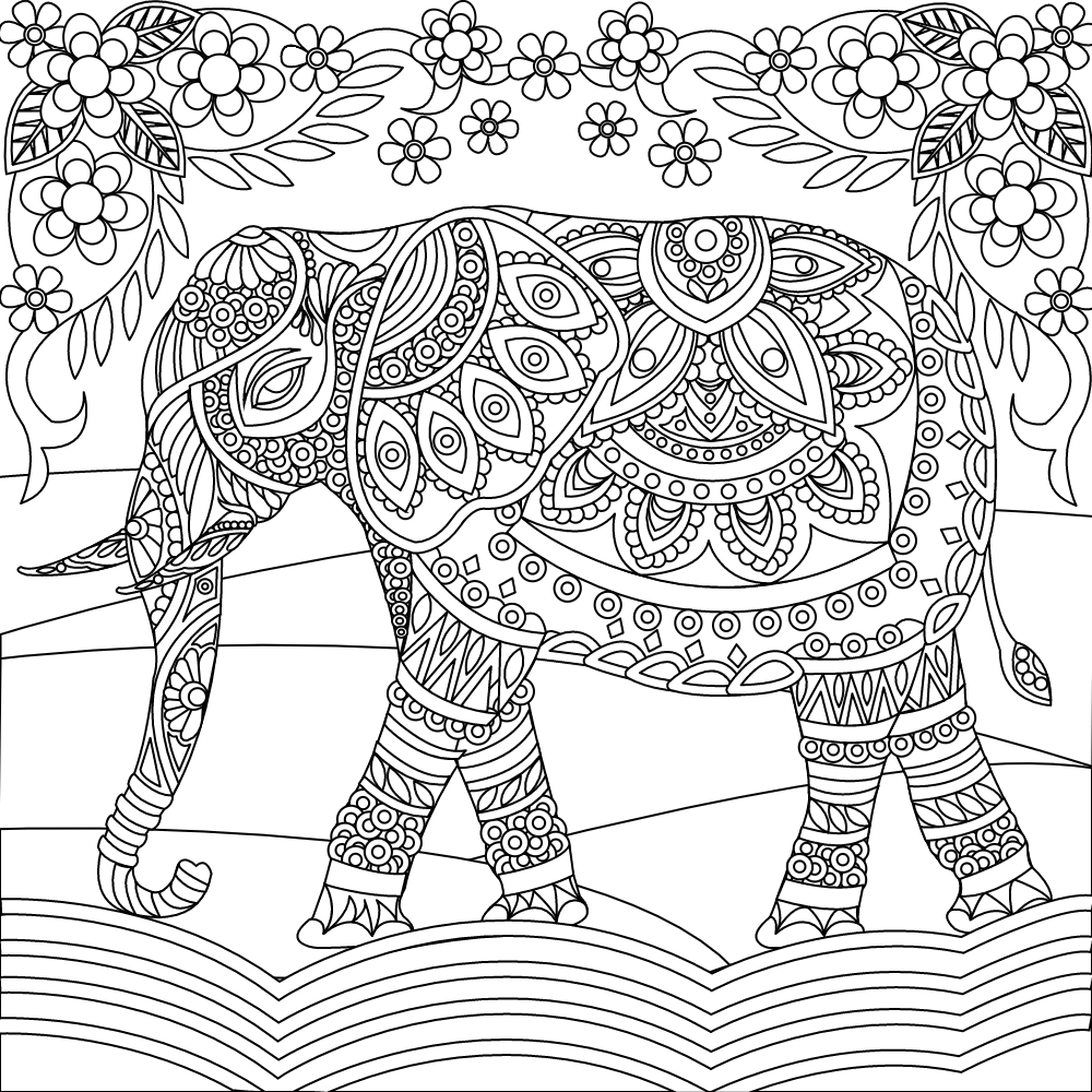 Elephant coloring page | Elephant Coloring Pages for Adults ...