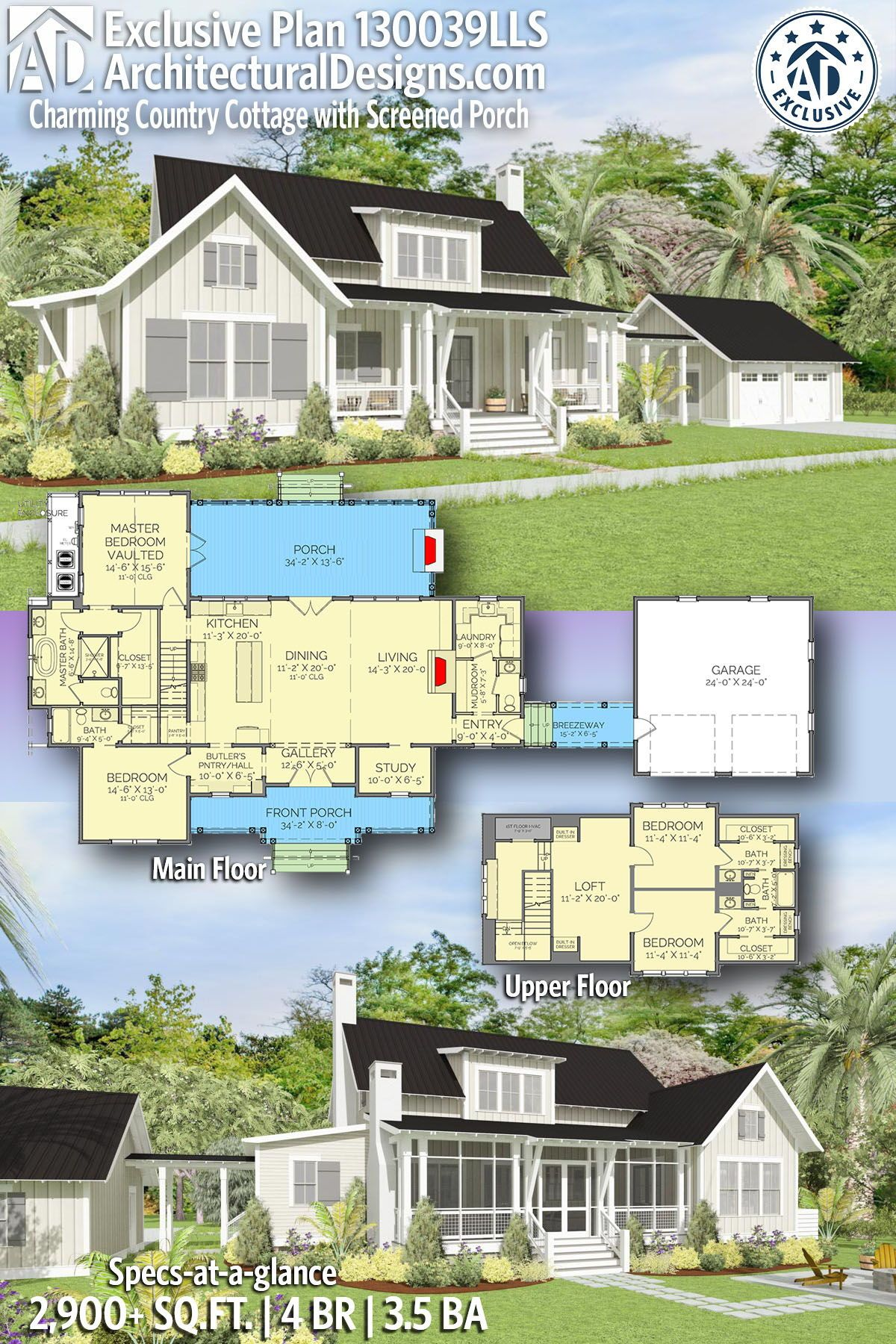 Plan LLS Charming Country Cottage with Screened Porch