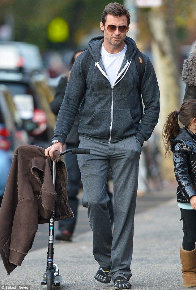 So down to earth! Hugh Jackman walks to pick up his daughter from school. via dailymail.co.uk