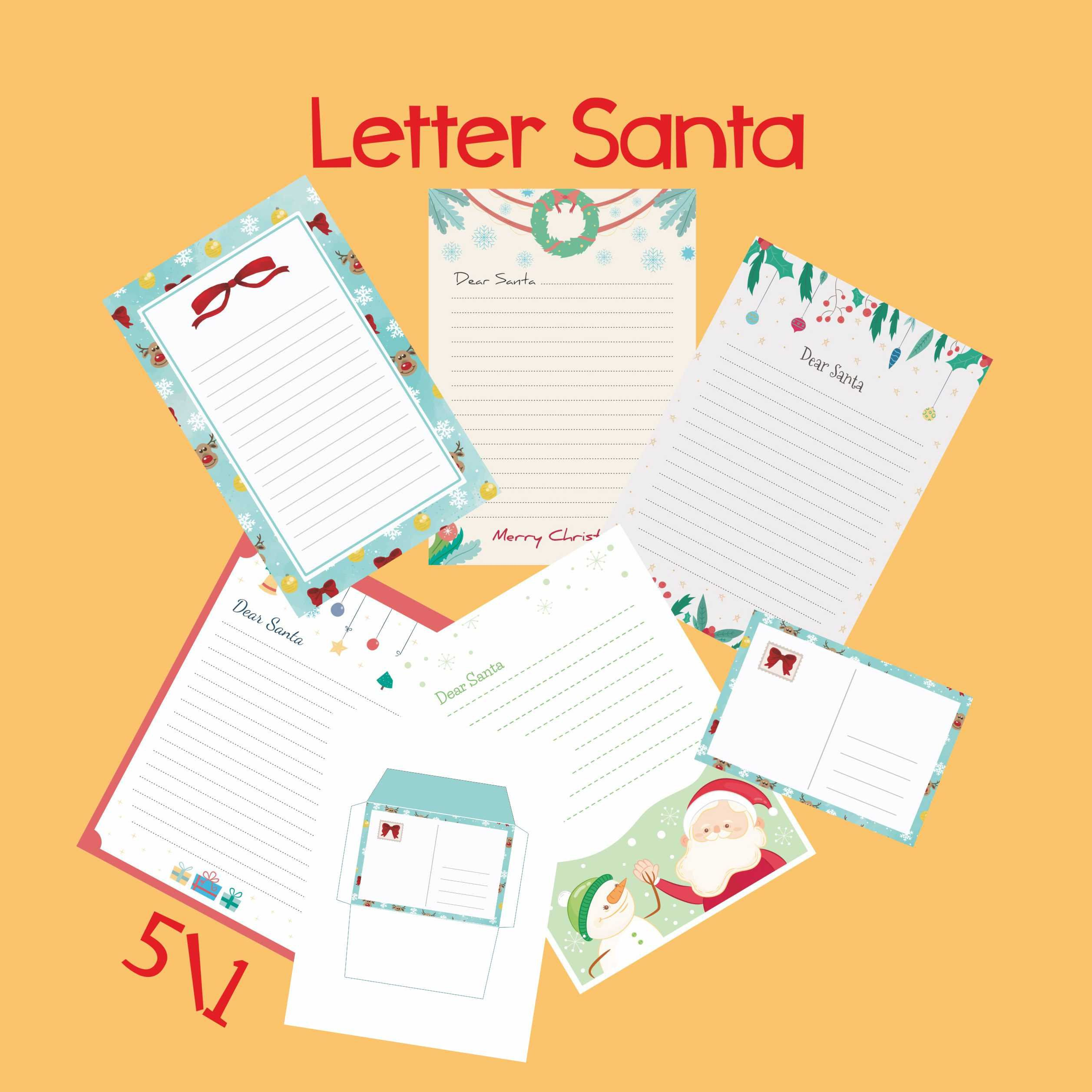 Letter to Santa kit Set with Envelope Template / Santa Claus ...