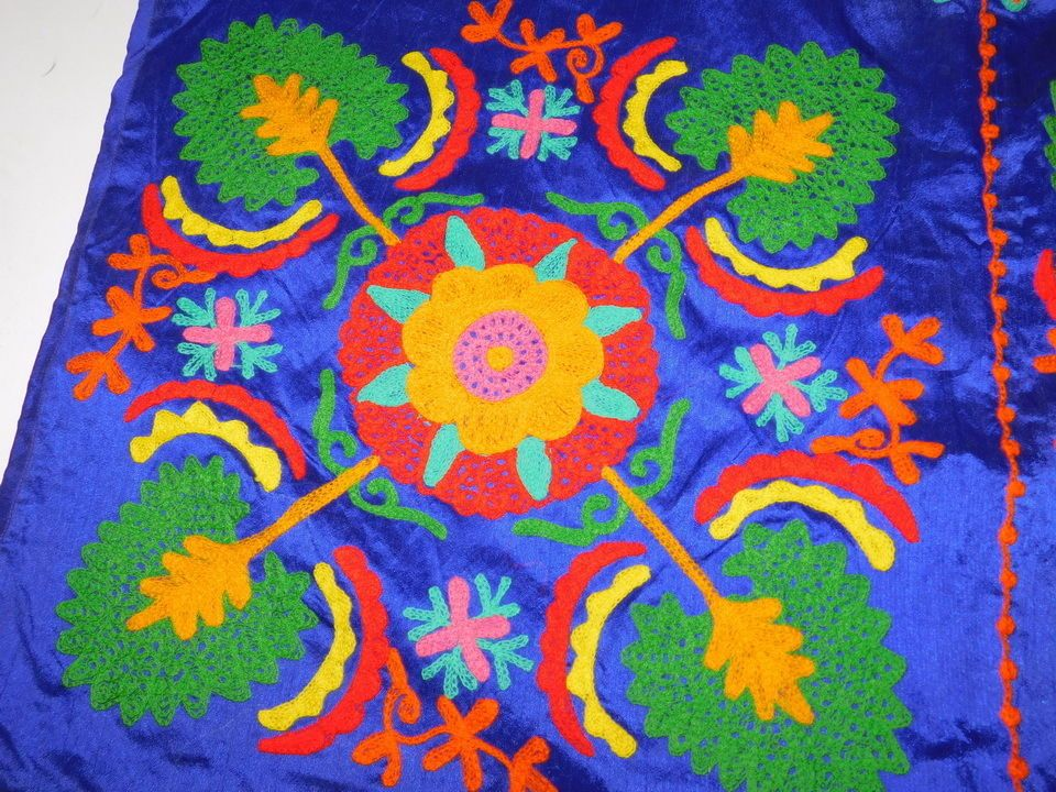 INDIAN VELVET HAND EMBROIDERY WALL HANGING TAPESTRY PATCHWORK TABLE THROW AX11 #Handmade #ArtDecoStyle
